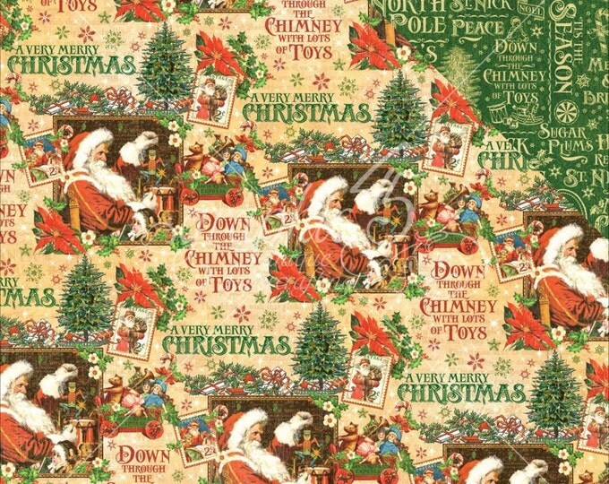 2 Sheets of ST. NICHOLAS Christmas Scrapbook Paper by Graphic 45 - Santa's Workshop