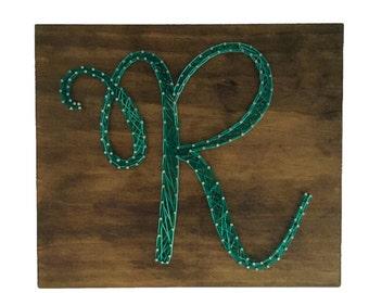 String Art Monogram Sign - wooden sign - made to order - room decor - letter sign - initial