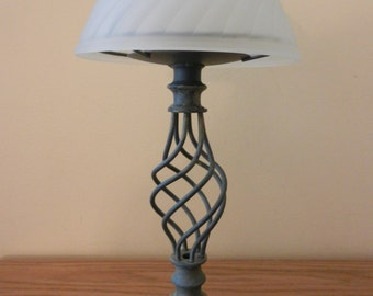Vintage Candle Holder with Glass Shade