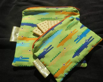 Reusable Sandwich bag and snack set! - Zippered fabric set of 2 -Lined with Rip Stop Nylon-Ready to Ship!