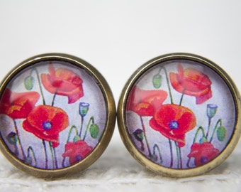 Poppy Earrings, Red Earrings, Glass Dome Earrings, Small Studs, Poppy Studs, Post Earrings, Glass Dome Studs, Red Studs, Red Flower, Floral