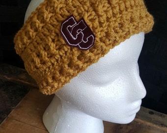Varsity Letter Crochet Ear Warmer - Adult
