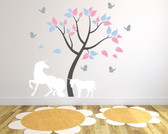Kids Room Wall Decal with Unicorns and Tree