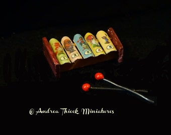 Miniature Funny Animals Xylophone 1/12 scale