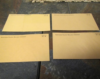 "4 vintage NORTHERN PACIFIC RAILWAY Company Envelopes : 3  1/2 "" by 6 "" envelopes"