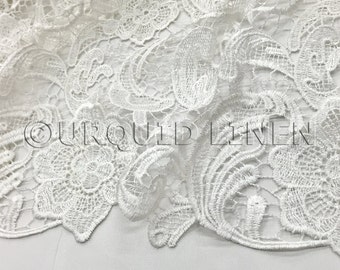 English Lace in White - Lace Fabric with Floral Embroidered Design Throughout - Great For Weddings, Bridal Parties, and Special Events