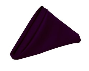 Eggplant Napkin for Weddings Pack of 10 | Wholesale Polyester Cloth Napkins