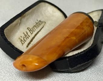 Vintage Cigar / Cheroot Holder - Echt Bernstein - 900 Silver Ring