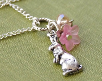 Easter Bunny Necklace Silver Rabbit Necklace Easter Present Pink Flower Necklace with Crystal Rabbit Jewelry Silver Charm Pendant Necklace