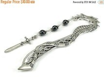 On Sale Dragon Bookmark Hematite Gemstones Sword Charm Beaded Book Mark Celtic Style