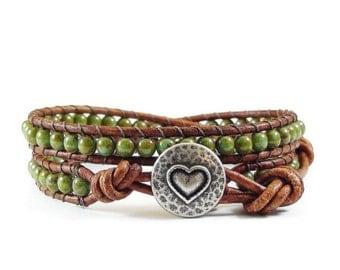 SALE Leather Wrap Bracelet, Boho Leather Wrap Bracelet, Beaded Leather Wrap, Green Beaded Bracelet