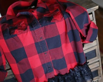 Upcycled Cotton Buffalo Check with Lace Women's Large