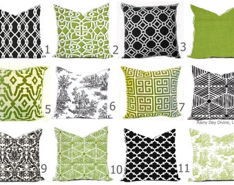Outdoor Pillows Indoor  Custom Cover - Green Olive Grass Kiwi White Black Ebony Modern Geometric Tribal Quatrefoil 18x18, 16x16