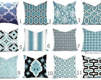 Pillows Cover Custom - Blue Powder Baby Ice White - All sizes 18x18, 16x16  Throw Accent Toss Modern QuatrefoilPrint