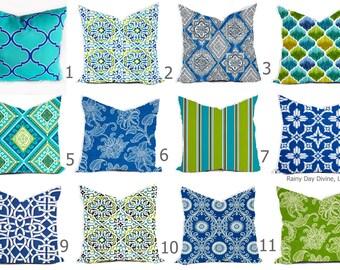 Outdoor Pillow Covers or Indoor Custom  - Cobalt Royal Blue Indigo Green Lime White 16x16, 18x18 modern ikat geometric