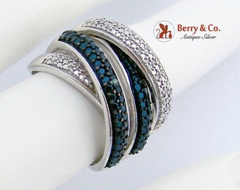 SaLe! sALe! Overlap Four Band Ring Band Cz Sterling Silver