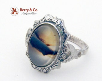 Ornate Picture Agate Ring Clark And Coombs Co Sterling Silver