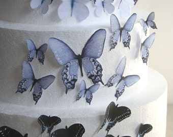 Edible Butterfly Cake Decorations, Black, Grey White Ombre Edible Butterflies, Set of 24 DIY Cake Decor Edible Cake Decorations Wedding Cake