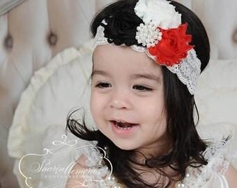 Chiffon Flower Headband - Black & Red - Newborn Headband - Baby Headband - Chiffon Headband - Infant Headband - Photo Prop - Baby Girl