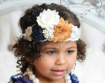 Chiffon Flower Headband ~ Navy Headband - Newborn Headband - Baby Headband - Chiffon Headband - Infant Headband - Photo Prop - Baby Girl