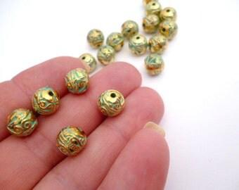 Gold Patina Metal Beads_ PA84532639878_Golden Patina Round Beads_ of 8mm_hole 1 mm_pak 20 pcs