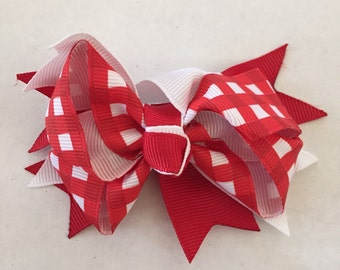 Red and White Checkered Hair Bow on Hair Clip 3 1/2""