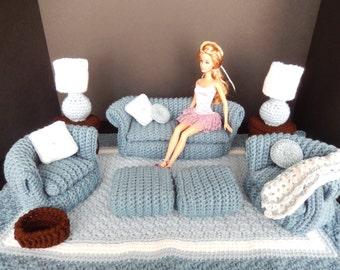 Crochet Barbie Doll Furniture, Blue 16 pc. Living Room