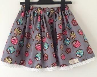 Girl's cotton skirt with owls, grey kids, toddler skirt