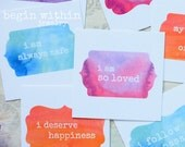 Affirmation Cards / Set of 25 Watercolor Positive Affirmations / Inspirational Card Deck