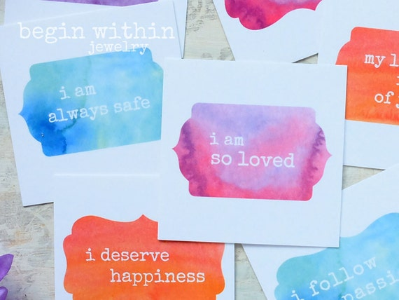 Affirmation Cards / Set of 25 Watercolor Positive Affirmations / Inspirational Card Deck