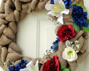 Burlap Wreath, Patriotic Wreath, Floral Wreath, Red White and Blue Floral Wreath, Year Round Wreath, Door Decor, Door Wreath, Wreaths