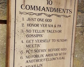 Cowboy's 10 Commandments, Western, Antiqued Wooden Sign