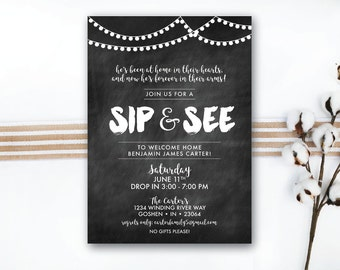 INSTANT DOWNLOAD sip and see invitation / adoption sip and see / adoption open house / new baby sip and see / chalkboard invitation