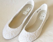 WeDDING LACe FLATs - PARiS Collection - IVORY Embroidered Nylon Vintage Lace with IVORY Pearls - Sz 9 ONLY