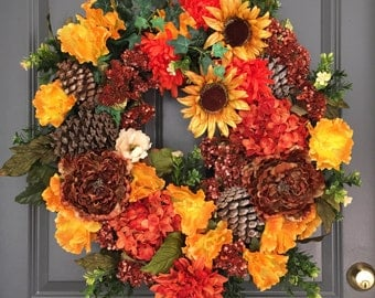 Sunflower Wreath, Front Door Sunflower Wreaths, Fall Wreaths, Autumn Wreaths, Fall Decor, Fall Front Door Wreath,Thanksgiving Wreaths,Wreath