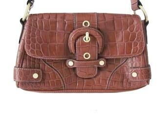 Croc Embossed Brown Leather Handbag Shoulder Bag Vintage Flap Over Purse