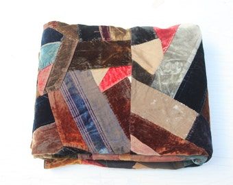 Antique Crazy Quilt, Patchwork Quilt, Cottage Decor