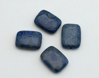 4 blue fossil coral stone bead/ 12mm x 16mm/ marquise shape  #PP226