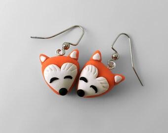 Fox Earrings, Clay Earrings,