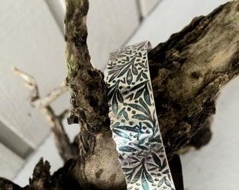 Made to order Botanical Textured sterling cuff bracelet ruffled scalloped edge. susan Wachler, Meta dance jewelry - Atlanta GA USA