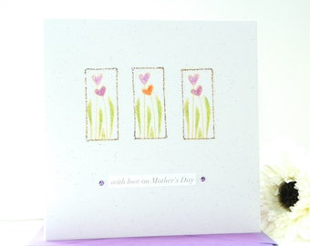Mother's Day card, handmade Mothers day card, personalised Mother's Day card - Tulips card - flowers card Mothers day