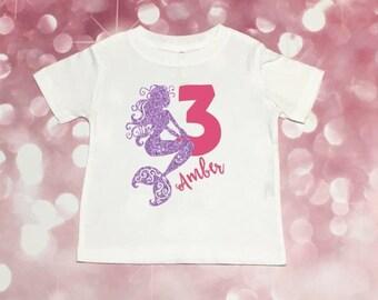 Mermaid Party Shirt, Girls Mermaid Shirt, Under The Sea Party, Personalized Mermaid Shirt, Mermaid Party, Mermaid Shirt, Mermaid Birthday