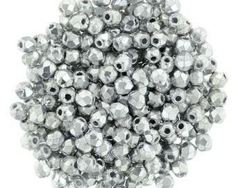 2mm FP Glass Bead #27000 Silver x 100pcs