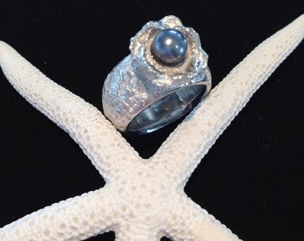 Ring in Silver 925 with blue Freshwater Pearl