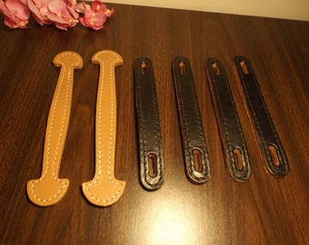 "Genuine leather bag handles. supplies. 2 beige : 9 3/8""L, 4 black  8 5/8""L Mint condition."