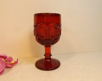 Red glass goblet. Vintage wine goblet of 60 s,,Gift. Romantic