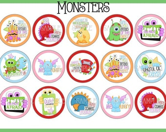 Monsters -  Printable Digital Bottlecap Images