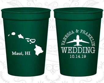 Hawaii Wedding Cups, Hawaii Wedding, Cups, Destination Wedding, State Cups, Customizable Cups (110)