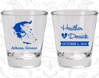 Greece Shot Glass, Greece Shot Glasses, Greece Glass, Greece Glasses, Greece Glassware (177)