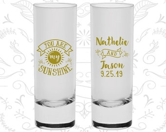 You are my Sunshine Shooters, Customized Tall Shot Glasses, Summer Wedding Shooters, Sun, Wedding Shooters (273)